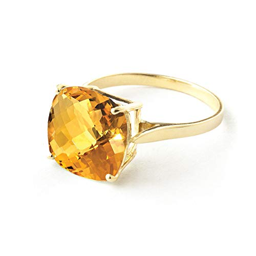 3.6 Carat 14K Solid Yellow Gold Ring Checkerboard Cushion Cut Natural Citrine 2313Y (8.5) by Galaxy Gold (Image #2)