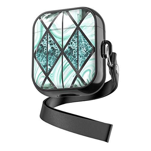 Techstudio Mega Series Case Compatible with Airpod 1 2 Marble Design, Protective Air Pod Case Cover Compatible with Apple Air Pod for Girls and Women (Black)