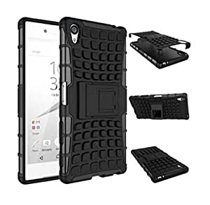 Calans Sony Xperia Z5 Premium Z5 Plus HDS Series Cool tough rugged Two-in one Bracket Shockproof Case Cover With Screen protector -Black