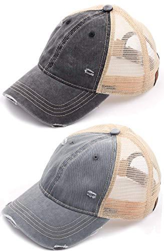 H-6140-2-912-0621 Trucker Hat 2-Pack: Black & Grey -