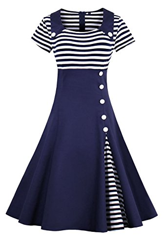 VERNASSA 50s Vestidos Vintage Retro Rockabilly Clásico Dress for Evening Cocktail Party, Multicolor, S-Plus Size 4XL 1528-azul Marino