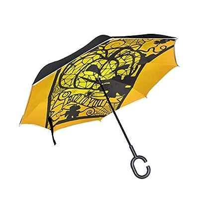 OREZI Jack and Spiderwebs Reverse Umbrella Large Double Layer C-Shaped Handle Folding Umbrella Windproof UV Protection Golf Umbrella for Woman and Men