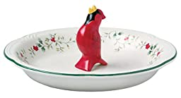 Pfaltzgraff Winterberry 9-1/2-Inch Perfect Pie Plate with Cardinal Pie Bird