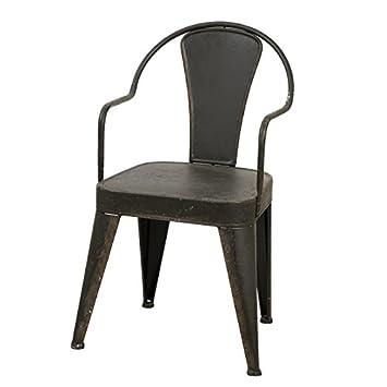 Silla de metal, diseño de silla tolix, color gris oscuro: Amazon.es ...