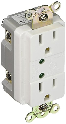 Surge Protector Receptacles (Eaton 5250WS 15-Amp Commercial Grade Duplex Receptacle with LED Indicators, White)