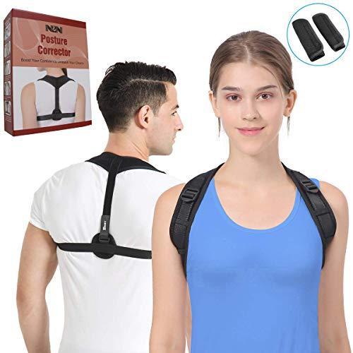 Posture Corrector for Women & Men,N2N Posture Brace Upper Back Support Brace for Clavicle Support,Back Straightener for Thoracic Kyphosis and Shoulder - Neck Pain Relief