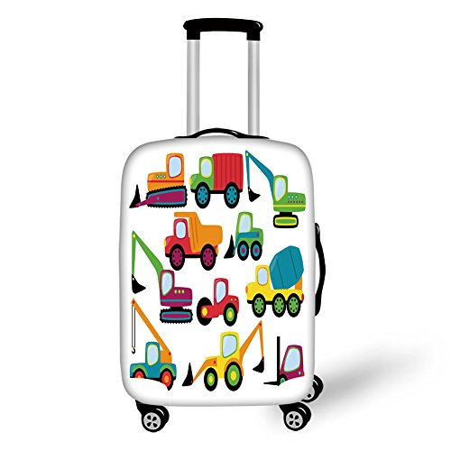 (Travel Luggage Cover Suitcase Protector,Construction,Cute Style Vehicles and Heavy Equipment Forklift Earthmover Excavator Mixer,Multicolor,for Travel)