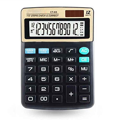 Standard Function Electronics Desktop Calculators,Big Button 12 Digit Large LCD Display,Dual Power Office Calculator (Black with Gold)