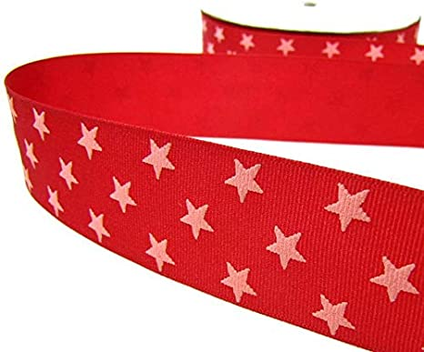 "5 Yards Patriotic USA 4th of July Red Pink Puff Stars Grosgrain Ribbon 1 1//2/""W"