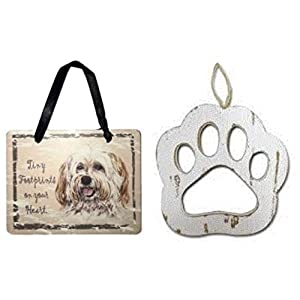 S&C Pets Havanese Sign and Wood Paw Ornaments for Dog Lovers Bundle (2 Pieces) 2
