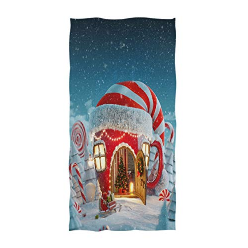 Naanle Amazing Fairy House in Elfs Hat Ta Cup Shape Fireplace Inside Unusual Christmas Design Soft Large Hand Towels Multipurpose for Bathroom, Hotel, Gym and Spa (16 x 30 Inches) ()
