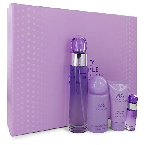 Perry Ellis 360 Purple by Perry Ellis Gift Set - 3.4 oz Eau De Parfum Spray .25 oz Mini EDP Spray 2 oz Hand Cream 4 oz Body Spray Women
