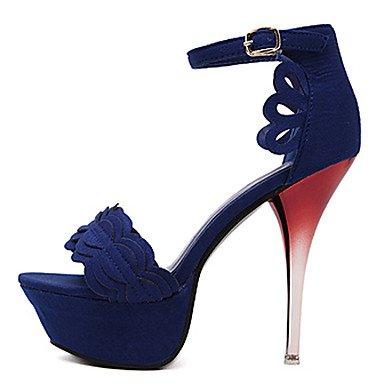 LvYuan Mujer Sandalias Vellón Verano Encaje Cosido Tacón Stiletto Negro Rojo Azul 10 - 12 cms Blue