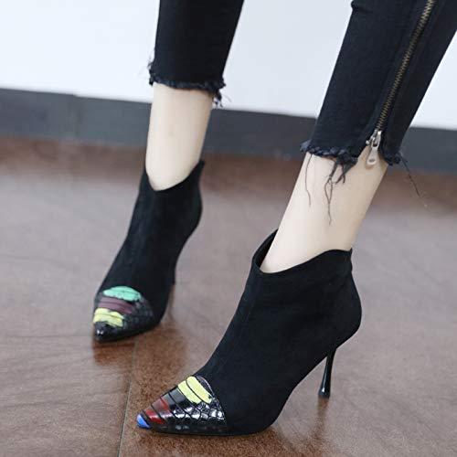 LBTSQ-Sexy Hochhackigen Schuhe 8Cm Scharf Darauf Farbige Kurze Stiefel Stiefel Stiefel Slim Reißverschluss Jigsaw-Stiefel. 48ef68