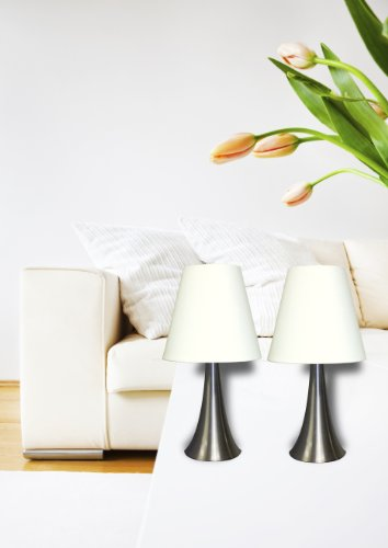 Simple Designs Home LT2014-WHT-2PK Valencia Brushed Nickel Mini Touch Table Lamps with Fabric Shades, White (Pack of 2), 4.92