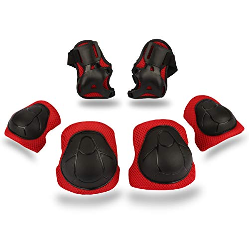 BOSONER Kids/Youth Knee Pad Elbow Pads Guards Protective Gear Set for Rollerblade Roller Skates Cycling BMX Bike Skateboard Inline Skatings Scooter Riding Sports (Black/red)