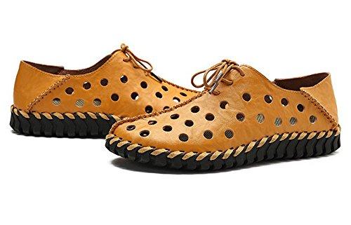 nuevos Amarillo Perezosos Zapatos de Conducción Zapatos Hombres Cuero Zapatos Huecos Casuales de de Zapatos Los de Hombres 2018 Los RY1RpUq
