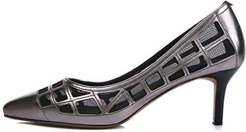 Calaier Women Jtabi Pointed-Toe 6CM Stiletto Slip-on Court Shoes Grey xyPHTU8e5