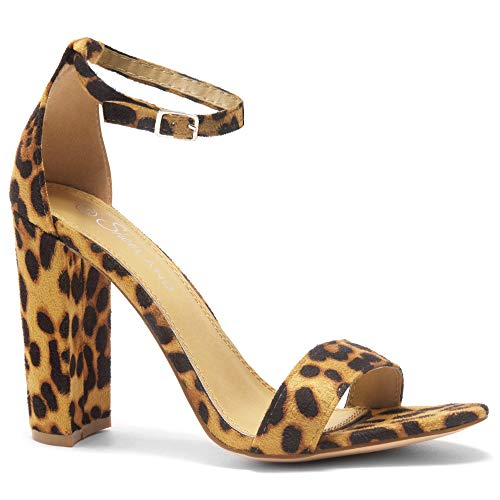Herstyle Rosemmina Womens Open Toe Ankle Strap Chunky Block High Heel Dress Party Pump Sandals. Leopard 10.0 -