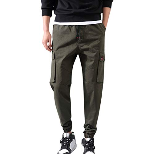 Aleola Men's Casual Straight Pocket Trousers Drawstring Pants (Green,XXXL)