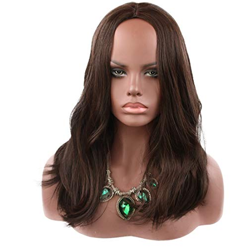 Hairpieces Fashian Woman Long Hair Wig for Party Dress Up Wedding Masquerade Nightclub for Daily Use and Party (Color : Black)]()