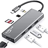 StillCool USB C Hub +,Multi-Port 7- in-1 hub Type C with 4K HDMI Adapter, 3 x USB 3.0 Adapter, SD/TF Card Reader, PD Quick Charge Aluminum Alloy Fast Heat Dissipation Stability Performance for MACBO