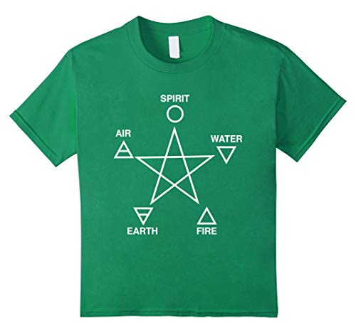 Kids Five Elements Pentagram T-Shirt Wicca Paganism Pagan Occult 8 Kelly Green