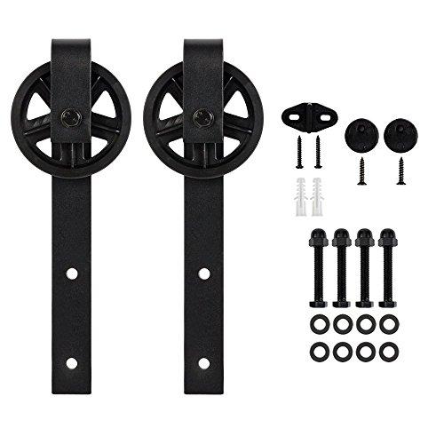 Bonnlo Black Industrial Big Wheel Sliding Barn Door Hardware Hangers 2 PCS Hangers (Big Spoke Industrial Wheel) (Rollers Door Barn)