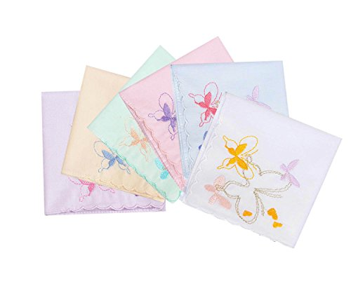 Butterfly Handkerchief - La closure New Women's/Ladies Cotton Handkerchiefs with Embroidery Butterfly