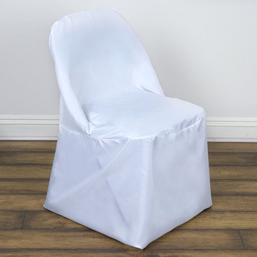 BalsaCircle 50 pcs White Folding Round Polyester Chair Covers Slipcovers for Wedding Party Reception Decorations (Chair Wedding Covers White)