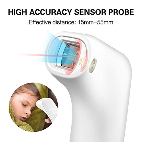 Infrared Thermometer for Adult,Hotodeal Digital Touchless Forehead Thermometer for Fever,Baby Thermometer with Fever Indicator,°C/°F Switchable (White)