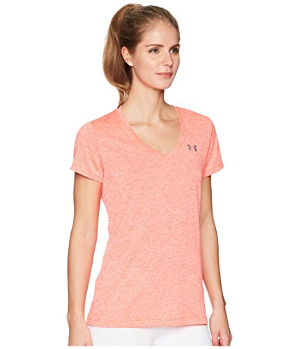 Under Armour Women's UA Tech¿ Twist V-Neck Neon Coral/Metallic Silver Small by Under Armour (Image #4)