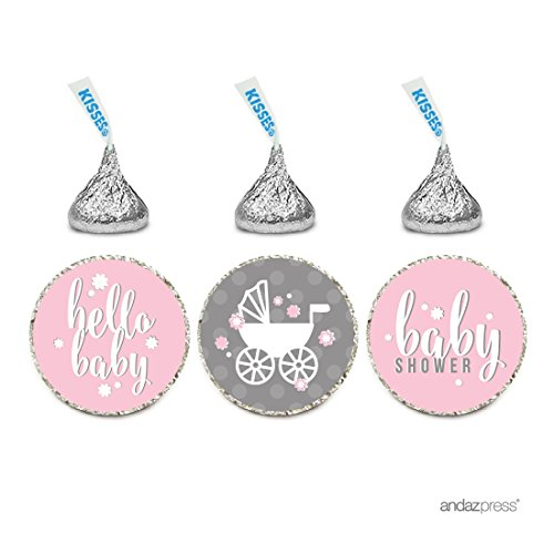 Andaz Press Chocolate Drop Labels Trio, Girl Baby Shower, Hello Baby!, Pink, 216-Pack, Fits Hershey's Kisses Party Favors, Decor, Decorations ()