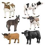Terra by Battat – Farm Animal Set – Realistic Plastic Cow Toys, Bull Toys, and Farm Animal Toys for Kids 3+ (6 pc)