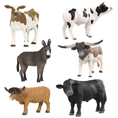 (Terra by Battat - Farm Animal Set - Realistic Plastic Cow Toys, Bull Toys, and Farm Animal Toys for Kids 3+ (6 pc))