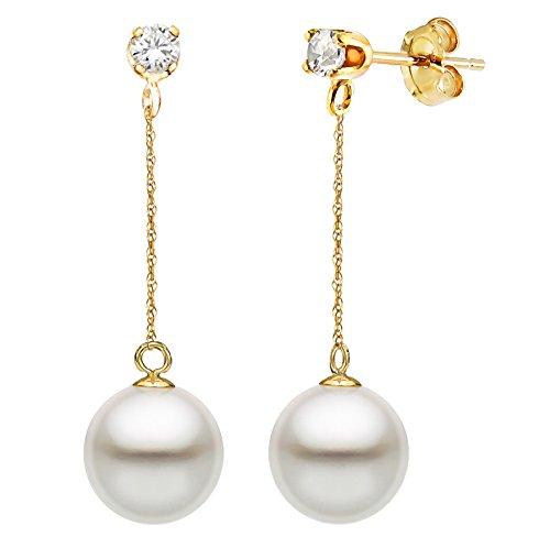 - 14K Yellow Gold 1/10cttw Diamond 8-8.5mm White Freshwater Cultured Pearl Stud Dangle Earrings