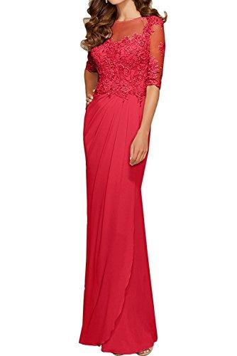 Damen Festlichkleider La Abschlussballkleider Rot Partykleider Braut Promkleider Spitze Rot Langarm mia Abendkleider 4tCtwqZ
