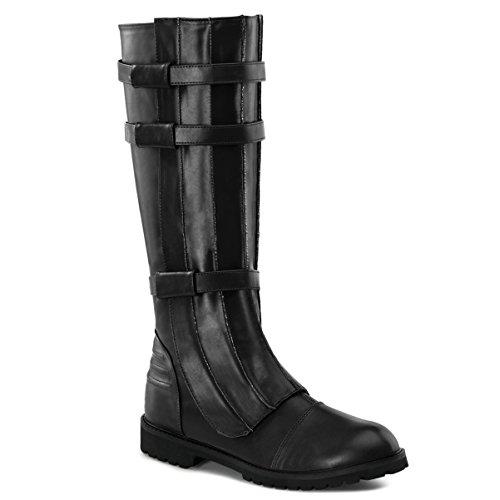 Funtasma Black Knee High Boot Strap Detail Gothic MENS SIZING Low Heel FLAT Size: Large ()
