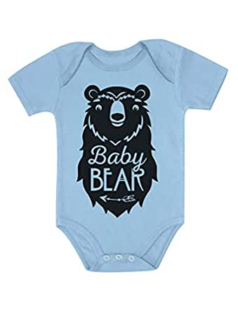 Tstars Baby Bear Cute Gift Little Girl Boy Sibling Family Baby Bodysuit Newborn Aqua