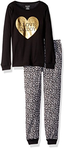 The Children's Place Baby Girls' Top and Pants Pajama Set, Black 85259, 3-6MONTHS