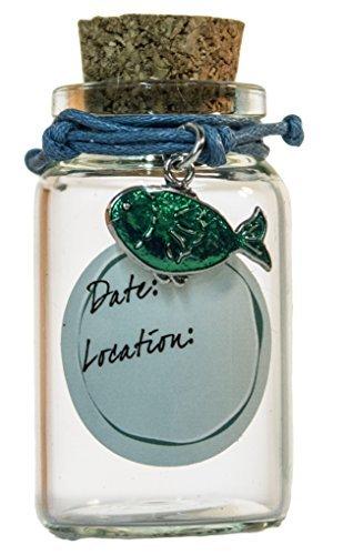 2 Inch Bracelet and Beach Sand Keepsake Jar (Green Fish)