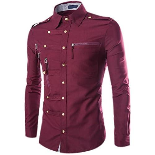 Fuxiang Hombre Camisas Estampadas Slim Fit Shirt Manga Larga Moda Camisa Casual Cuello Vestir Shirts Blusa Tops Formales Camiseta qfN1qW7qQ