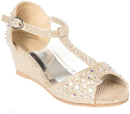 Miss Riot Allia Sparkle Girls Kids Summer Sandals Rose Gold UK Size