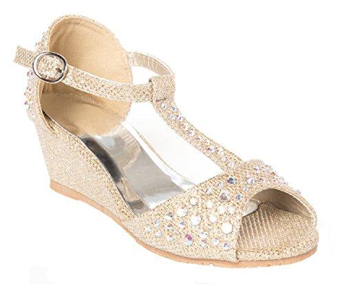 OLIVIA K Girls Glitter and Rhinestone Open Toe Wedge Heel Gold ()