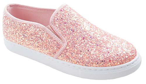 ANNA Women's Range-8 Thick Sole Slip On Fashion Sneakers Decorative Sequins Elastic Side Support Unicorn