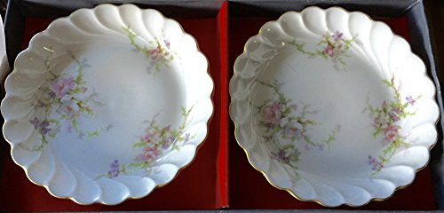 Vintage Haviland Limoges Signed Small Saucer with Scalloped Edge (Set of 2) (Signed Limoges)