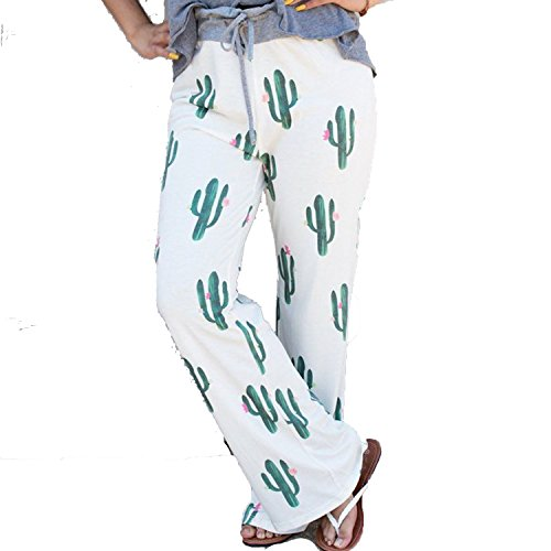 Collocation-Online Women Floral Print 2018 Loose Mid Waist Straight Trousers,ON0507-white,XL