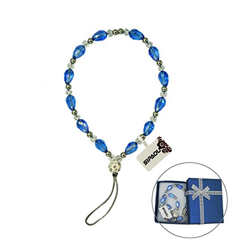 Women's Fashion Cell Phone Lanyard Strap, SIPAOU 7.8 Inch Bling Crystal Beads Hand Wrist Lanyard Strap String for Cell Phone Purse Camera MP3 MP4 iPod PSP Keychain, Gift Box Included(Short Blue)