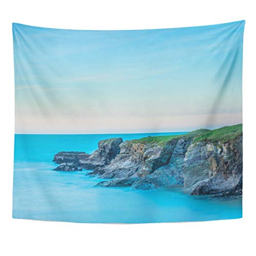 Tinmun Tapestry Cornwall UK Cliffs Port Gaverne at Sunset in Pastel Wall Hanging for Living Room Bedroom Dorm 60x80 inches