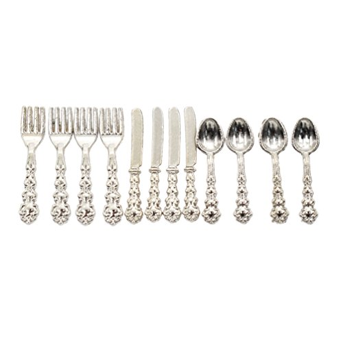 BetterUS 1/12 Scale Mini Fork Spoon Knife Set Metal Tableware Dollhouse Kitchen Furniture Supply 12Pcs